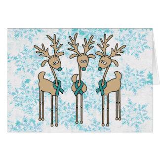 Teal Ribbon Reindeer (Uterine Cancer) Greeting Card