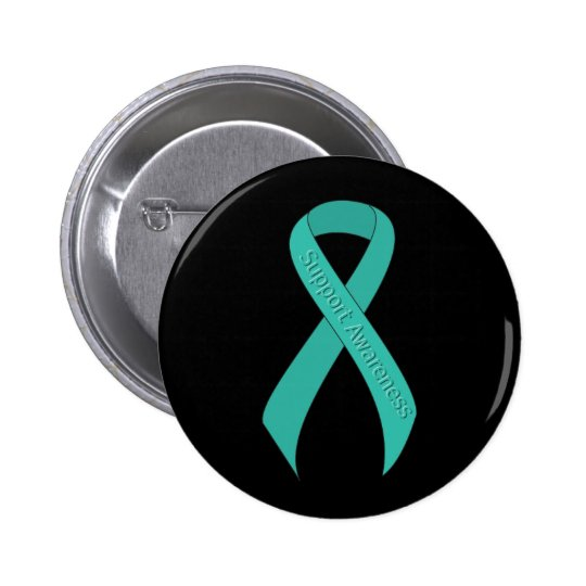 Teal Ribbon Support Awareness 6 Cm Round Badge