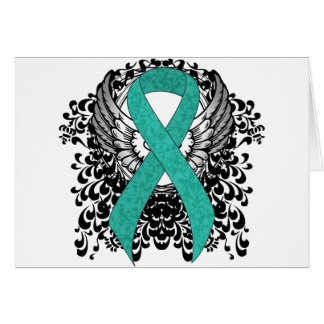 Teal Ribbon Support Awareness Greeting Cards