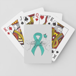 Teal Ribbon with Butterfly Playing Cards