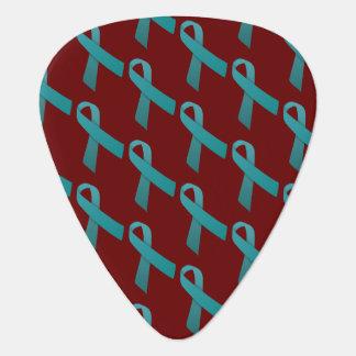 Teal Ribbons Tiled Pattern Plectrum