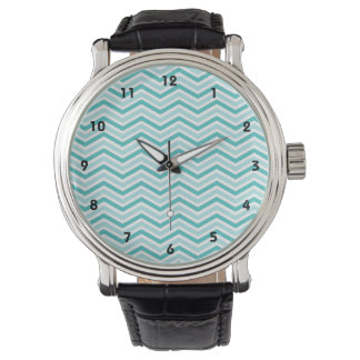 Teal, Robins Egg Blue, and White Chevron Stripes Watch