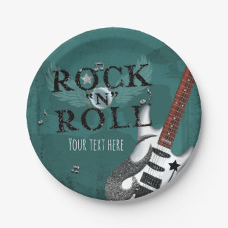 Teal Rock N Roll Star Birthday Party Event 7 Inch Paper Plate