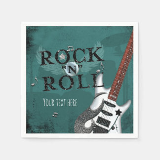 Teal Rock N Roll Star Birthday Party Event Paper Napkin