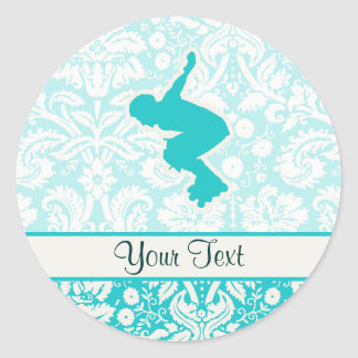 Teal Rollerblading Stickers