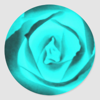 Teal Rose Bud Round Sticker