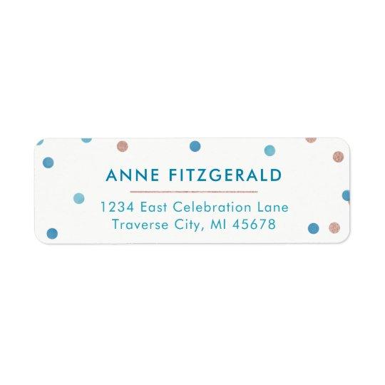 Teal & Rose Gold Confetti Return Address Labels