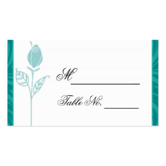 Teal Rose Graphic Wedding Place Card Business Cards