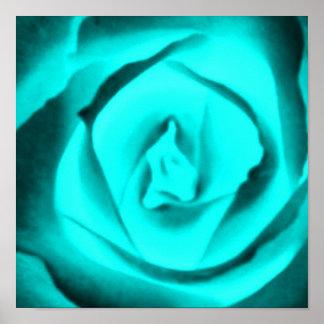 Teal Rose Poster
