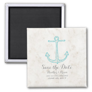 Teal Rustic Anchor Save the Date Magnet