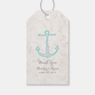 Teal Rustic Anchor Wedding Gift Tags
