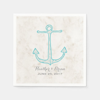 Teal Rustic Anchor Wedding Paper Napkin