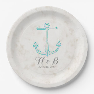 Teal Rustic Anchor Wedding Paper Plate