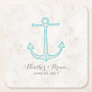 Teal Rustic Anchor Wedding Square Paper Coaster
