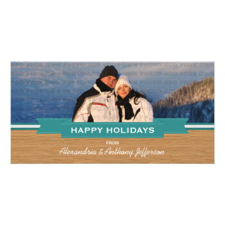 Teal Rustic Banner Holiday Photo Card
