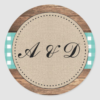 Teal Rustic Burlap Wood Wedding Stickers Labels
