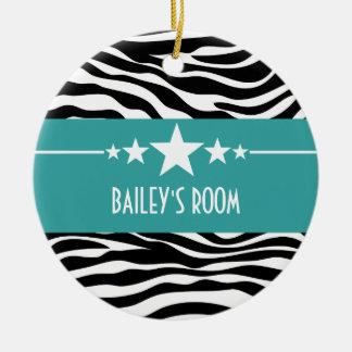 Teal Sassy Star Zebra Ornament