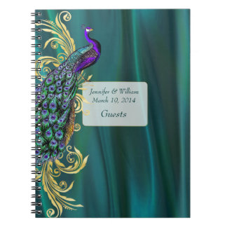 Teal Satin and Peacock Wedding Guest Sign In Notebooks