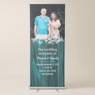 Teal Satin Look Wedding Photo Retractable Banner