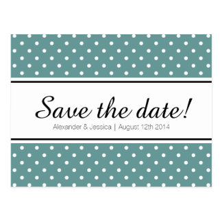 Teal save the date postcards | white polka dots