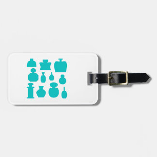 Teal Scent Bottles. Luggage Tag