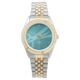 Teal Scissors & Monogram Wrist Watch