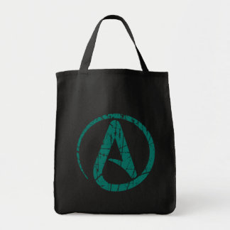 Teal Scratched and Worn Atheist Atheism Symbol Tote Bag