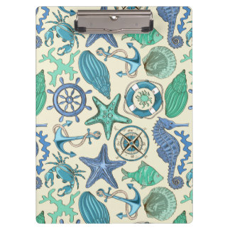 Teal Sea Animals Pattern Clipboard