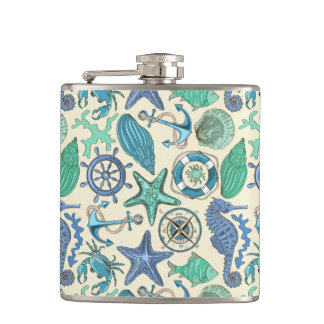 Teal Sea Animals Pattern Hip Flask