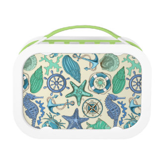 Teal Sea Animals Pattern Lunch Box