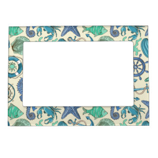 Teal Sea Animals Pattern Magnetic Photo Frames