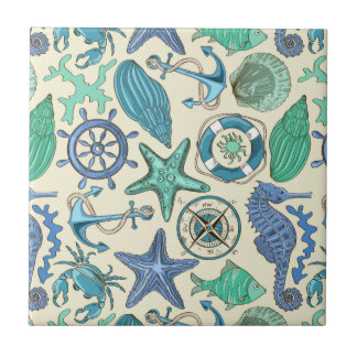 Teal Sea Animals Pattern Tile