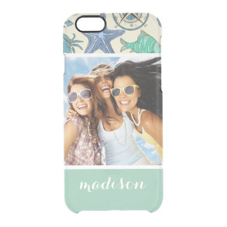 Teal Sea Animals Pattern | Your Photo & Name Clear iPhone 6/6S Case