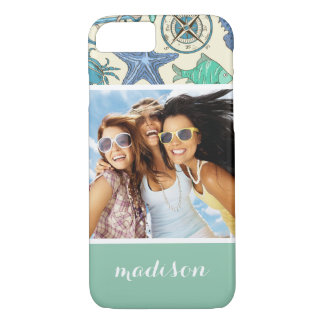 Teal Sea Animals Pattern | Your Photo & Name iPhone 8/7 Case