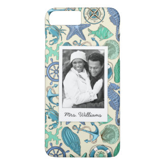 Teal Sea Animals Pattern | Your Photo & Name iPhone 8 Plus/7 Plus Case