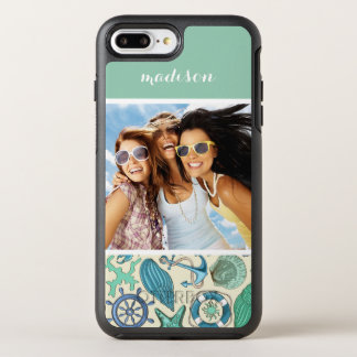 Teal Sea Animals Pattern | Your Photo & Name OtterBox Symmetry iPhone 8 Plus/7 Plus Case