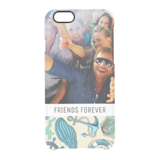 Teal Sea Animals Pattern | Your Photo & Text Clear iPhone 6/6S Case