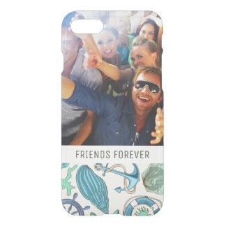 Teal Sea Animals Pattern | Your Photo & Text iPhone 8/7 Case