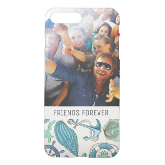 Teal Sea Animals Pattern | Your Photo & Text iPhone 8 Plus/7 Plus Case