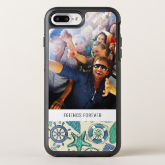 Teal Sea Animals Pattern   Your Photo & Text OtterBox Symmetry iPhone 8 Plus/7 Plus Case
