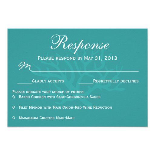 Teal Sea Coral RSVP Response Cards
