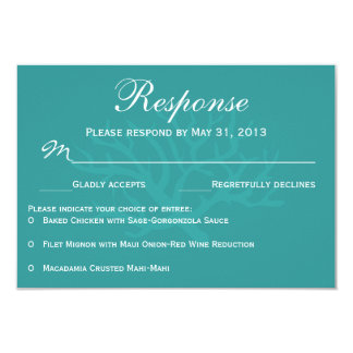 "Teal Sea Coral RSVP Response Cards 3.5"" X 5"" Invitation Card"