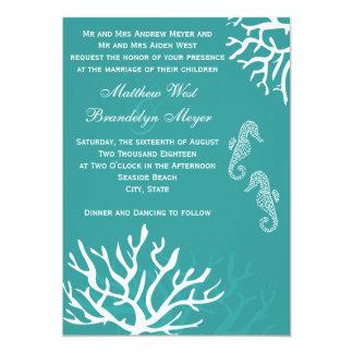 Teal Sea Coral Seahorse Wedding Invitations