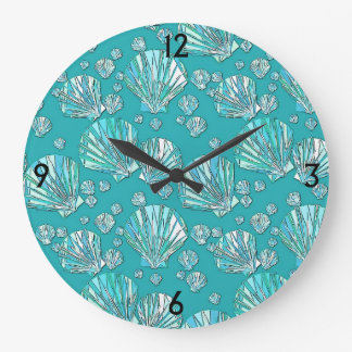 Teal, seafoam sea shells, turquoise background large clock