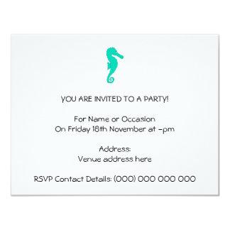 Teal Seahorse 11 Cm X 14 Cm Invitation Card