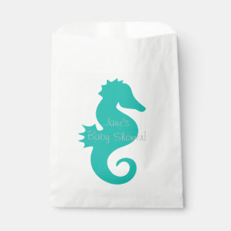 Teal Seahorse Baby Shower Favor Bags Favour Bags