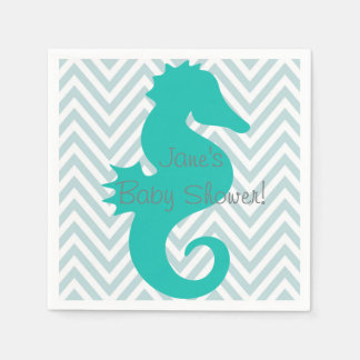 Teal Seahorse Beach Themed Baby Shower Napkins Disposable Serviettes