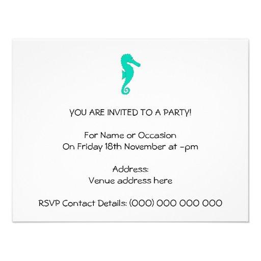 Teal Seahorse Invitation