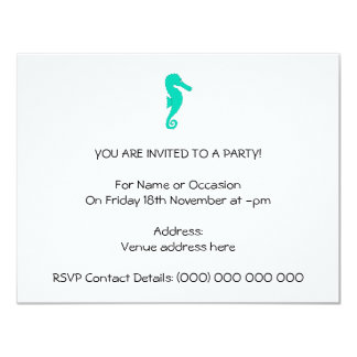 Teal Seahorse 4.25x5.5 Paper Invitation Card