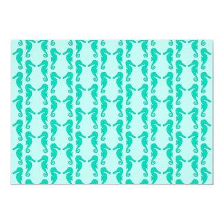 Teal Seahorse Pattern 13 Cm X 18 Cm Invitation Card